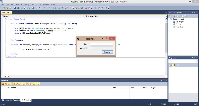 Resolve Web IP Address VB.NET Source Code