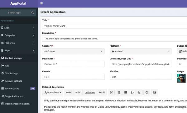 App Portal Source Code - Create Application