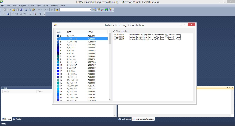 ListView Insertion Drag Demo C#.NET Source Code