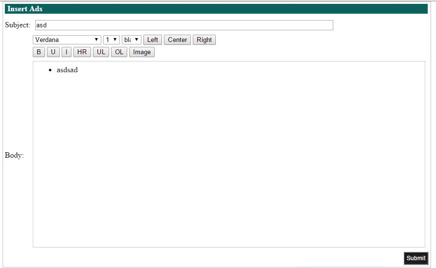 WYSIWYG Editor PHP MySql Javascript Source Code