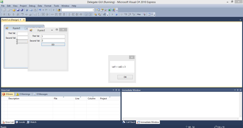 Custom Delegates Windows Form C# Source Code