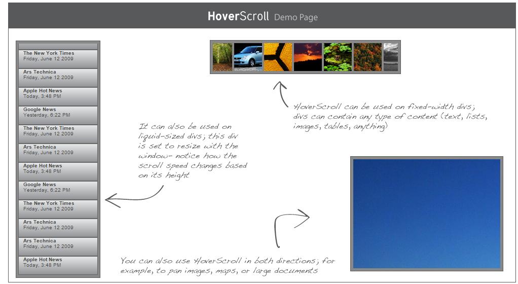 Hover Scroll Menu Javascript Source Code