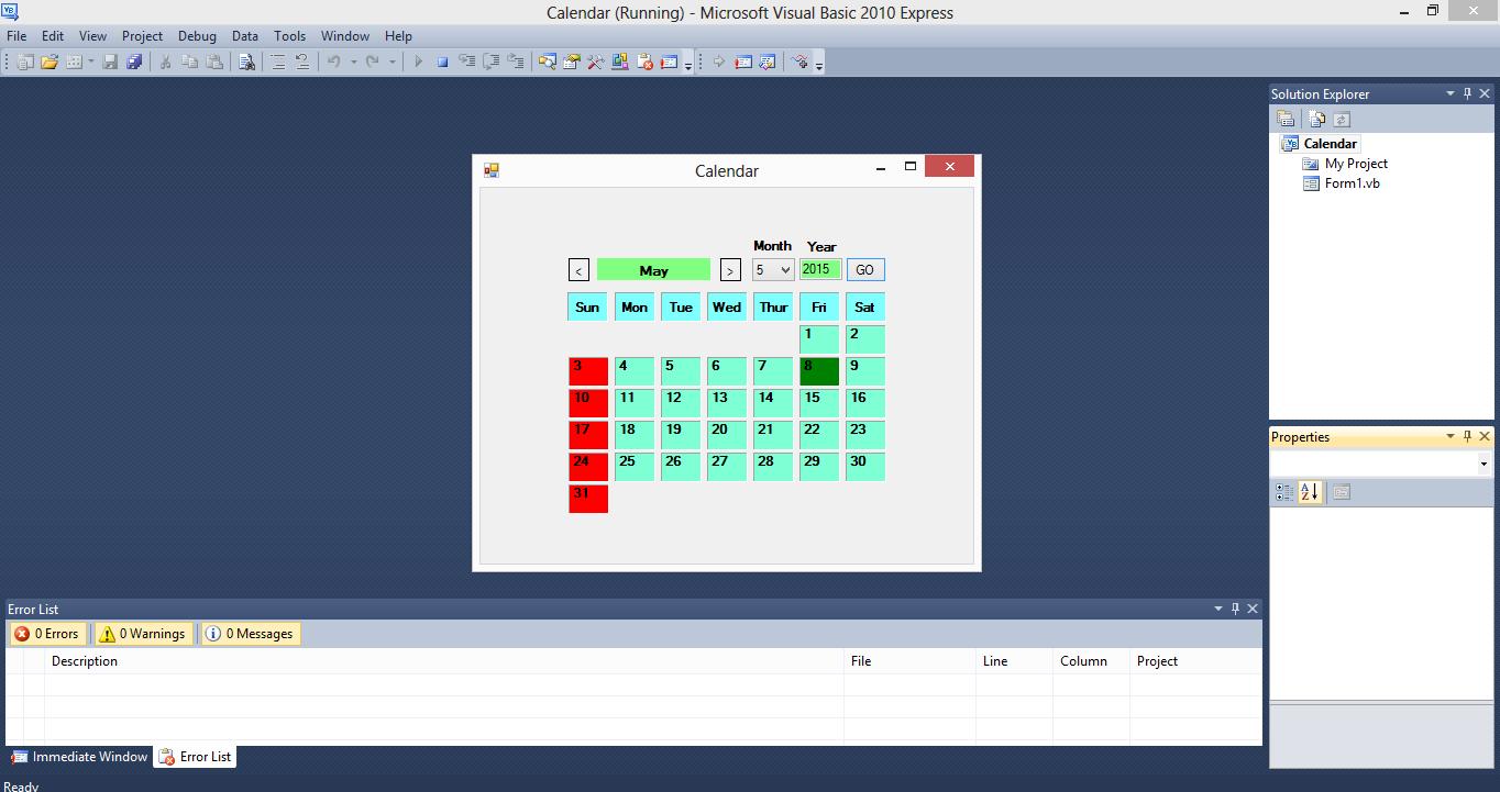Simple Calendar VB.NET Source Code