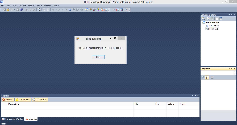 Hide Desktop Applications VB.NET Source Code