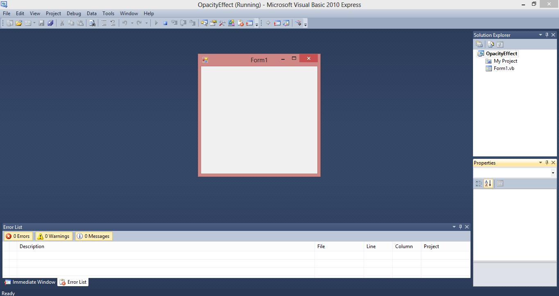 Form Opacity Effect VB.NET Source Code