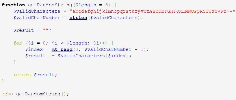 Generate Random String PHP Source Code