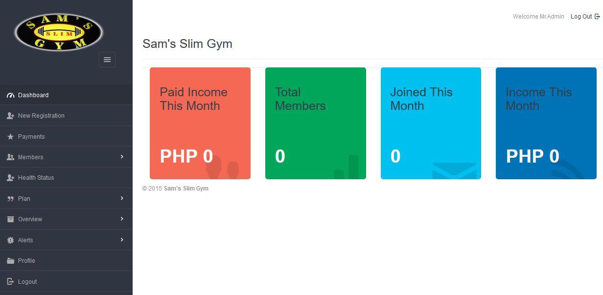 Gym Management System PHP MySQL Source Code Dashboard