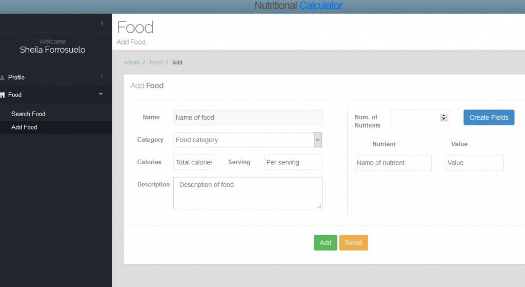 Nutritional Calculator Add Food