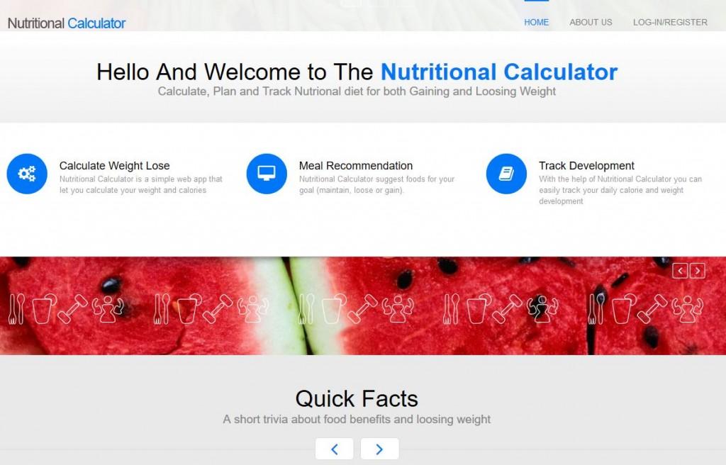 Nutritional Calculator Homepage